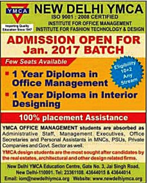 Interior Design Courses In Delhi Term ymca admissions 2017 courses offered