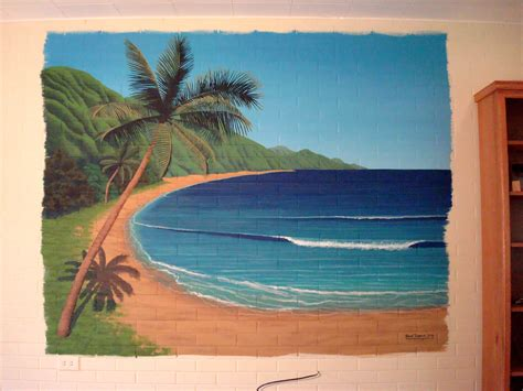 Baseball Murals For Walls hawaiian beach mural