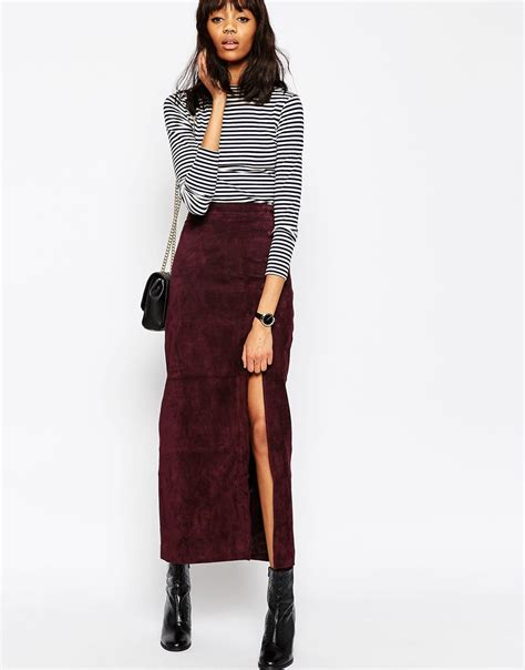 asos maxi skirt with thigh split in suede in purple