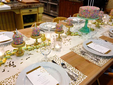 Dining Table Centerpiece by Birthday Party Rainbow Sprinkles Table Setting