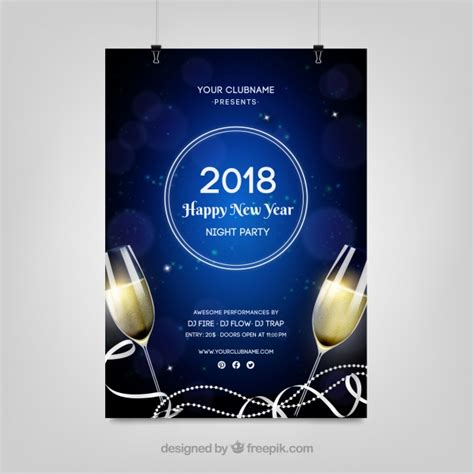 new year poster 2018 2018 happy new year poster vector free