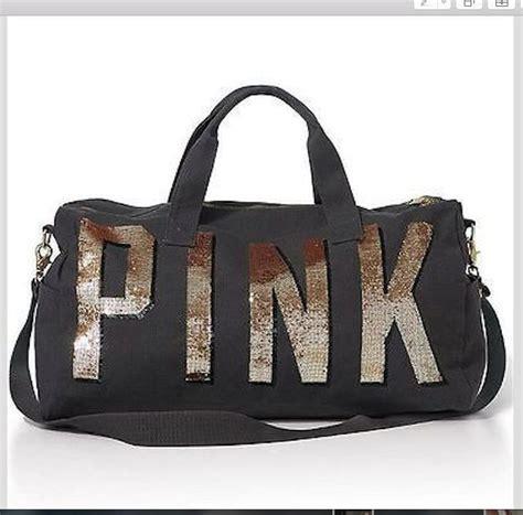 Tas Bra Travel Bag secret pink travel gold bling sequin carry on