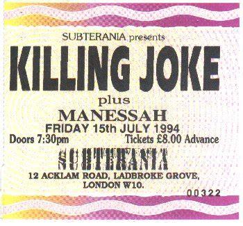 killing joke  concert ticket stubs