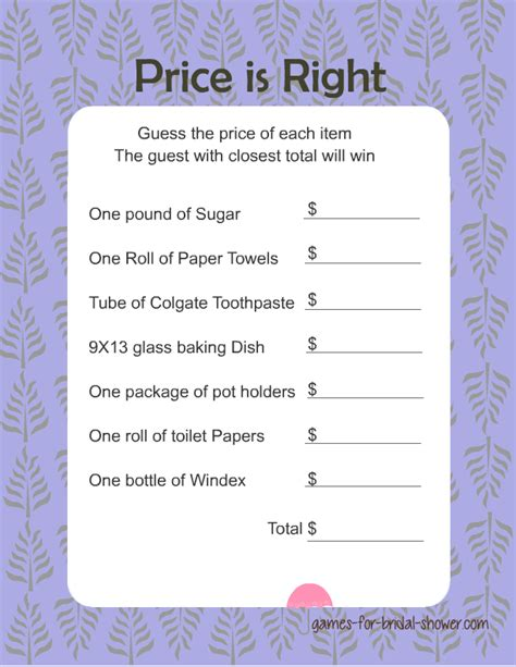 Printable Price Is Right Bridal Shower Game | free printabel price is right bridal shower game