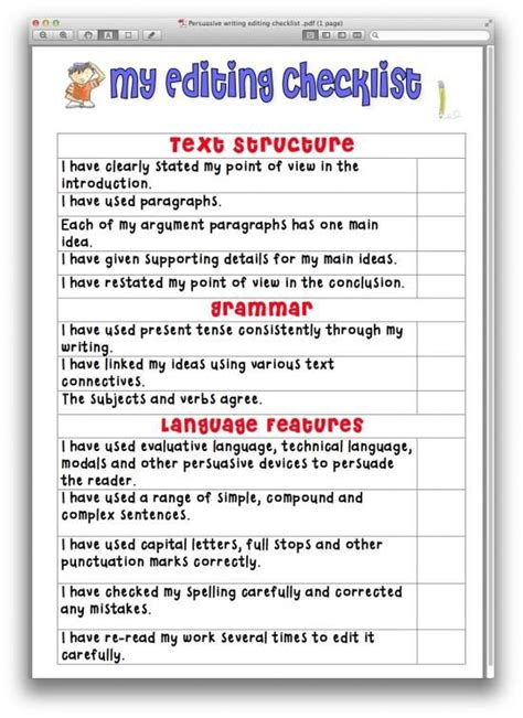 Checklist For Essay Writing by The World S Catalog Of Ideas