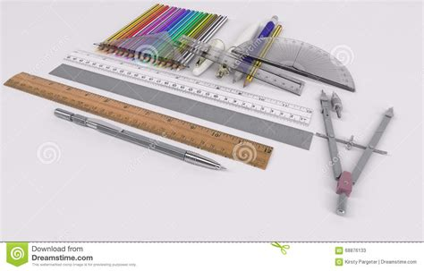 drawing equipment graphic illustration pencil ruler pencils rulers and drawing tools stock illustration