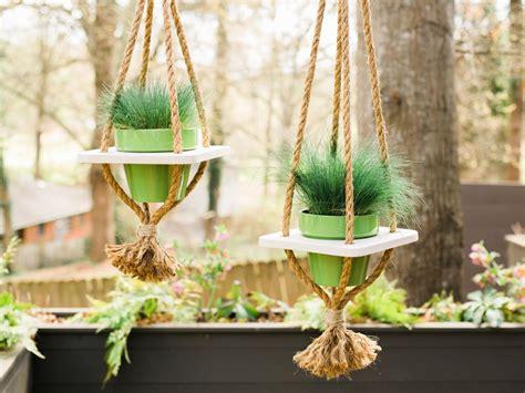 diy hanging planter  rope hgtv