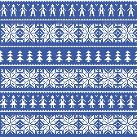 blue nordic pattern nordic christman seamless pattern with people by redkoala