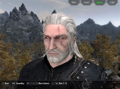 skyrim mod geralt witcher 3 geralt of rivia racemenu preset at skyrim nexus