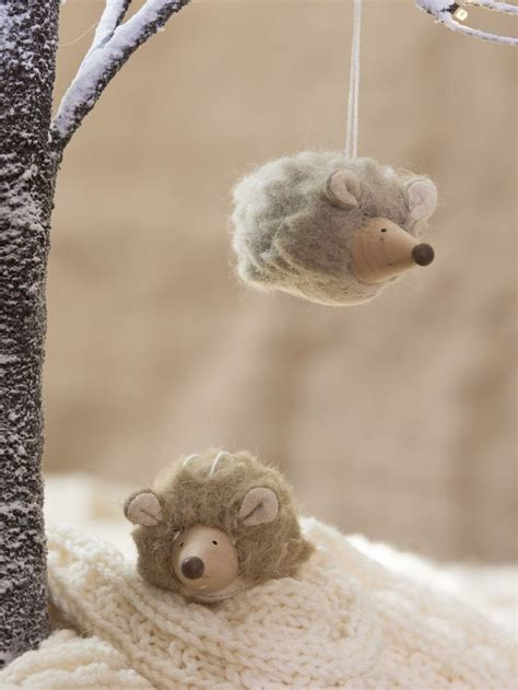 hedgehog ornaments felted wool hedgehog christmas