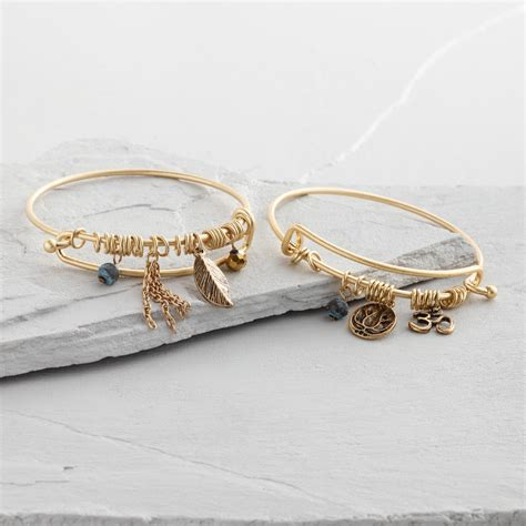 gold wire bangle charm bracelets set of 2 world market