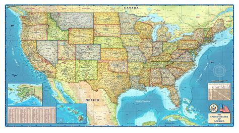 united states of america usa large wall map poster united states political wall map by compart maps
