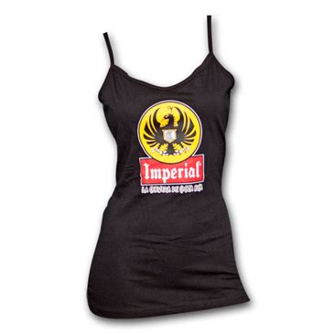 imperial cerveza logo black spaghetti strap ladies tank