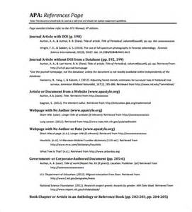 Reference Page Template by Sle Reference Page Template 9 Documents In Pdf