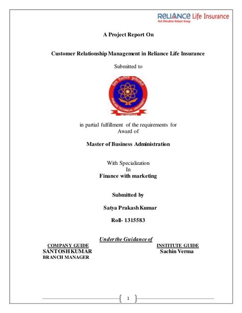 Mba Customer Relationship Management Syllabus by Project On Reliance Insurance