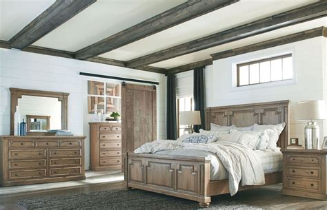 modern vintage rustic smoke panel bedroom set from coaster