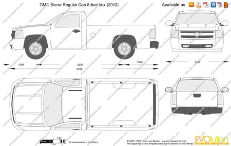 gmc sierra truck bed dimensions the blueprints com vector drawing gmc sierra regular