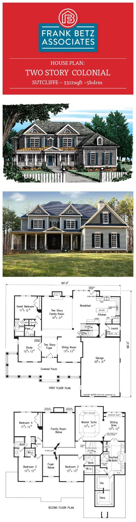 two colonial house plans sutcliffe 3312sqft 5bdrm two colonial house plan by