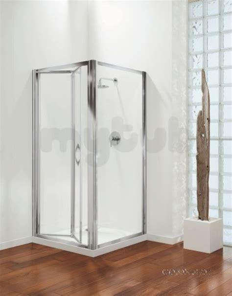 Coram Bifold Shower Door 800mm Premier Bifold Door Polished Silver Satin Glass Door Only Coram
