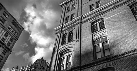 free stock photo of black and white buildings city