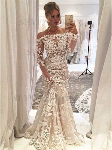 Dress Sweet Two Color Mix Import Premium Quality buy mermaid the shoulder light chagne tulle prom dress with appliques flowers from