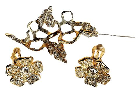 Cangkang Emban Alloy Kt New Motif joan rivers unique duette brooch earrings set swarovski crystals 18 from the vintage cornucopia