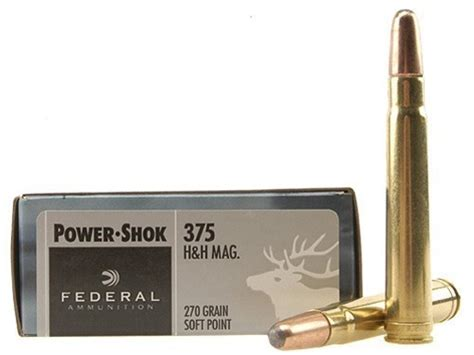 h h federal power shok ammo 375 h h mag 270 grain soft point
