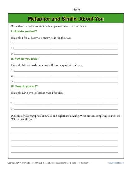 Metaphors Worksheets by Metaphor And Simile About You Figurative Language