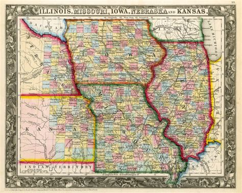 map missouri and illinois state map of illinois missouri iowa nebraska by
