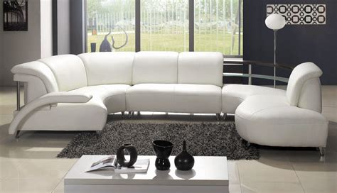 Contemporary Curved Sectional Sofa Contemporary Curved White Italian Leather Sectional Modern Design Sofa Ebay