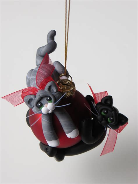 polymer clay cats christmas ornament black and gray tabby cats