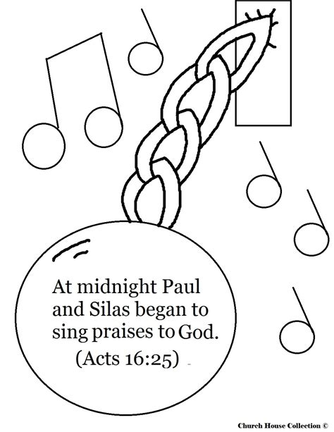 free coloring pages of paul and silas in prison