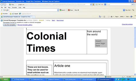 colonial newspaper template thing 3 template and how i would use it