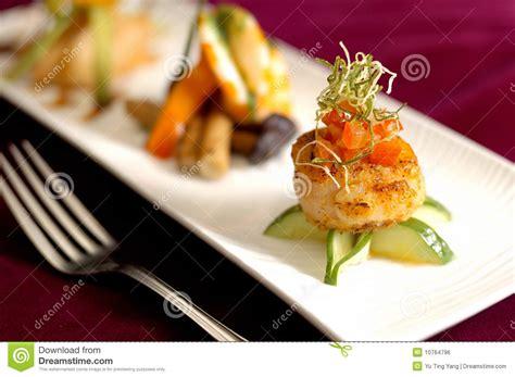 cuisine appetizer creative cuisine appetizer scallops seafood stock photo