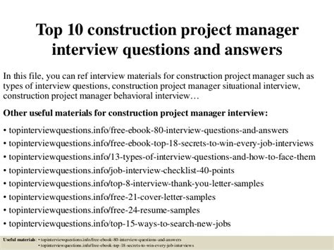 Top 10 Construction Project Manager Interview Questions