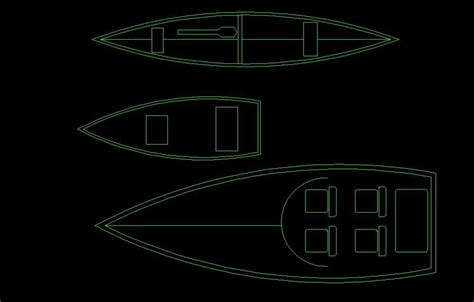 boat plans dwg canoe and small boat top view 2d dwg block for autocad