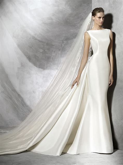 Satin Wedding Dresses by Sheath Mikado Satin Wedding Gown With A Dropped Back Bow