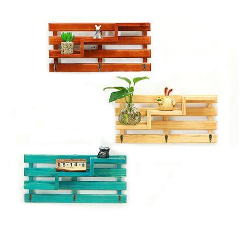 Vintage Floating Rack Sweet Home wooden wall mounted 3 hanger hooks floating shelf vintage shabby rack alex nld