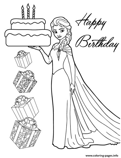 elsa coloring pages that you can print elsa holding birthday cake for you disney coloring pages