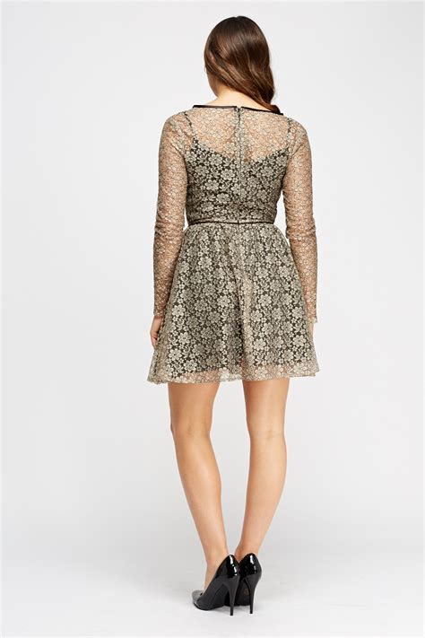 lace swing dress lace overlay contrast swing dress taupe black just 163 5