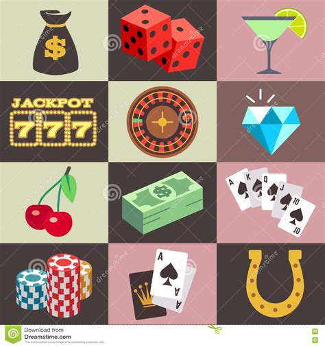 Win Money Gambling - flat gambling casino money win jackpot luck vector icons stock vector image
