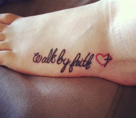 walk by faith tattoo design black with heartbeat family on foot
