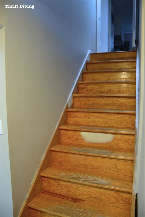 diy painted stairs makeover thrift diving blog