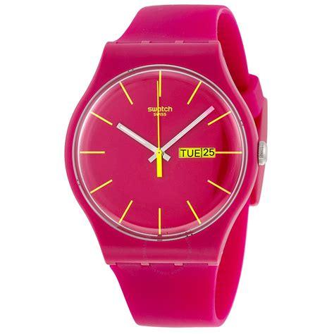 swatch rubine rebel pink silicone unisex watch suor704 other swatch watches jomashop