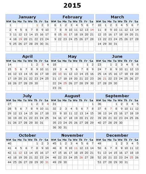 printable calendar without weekends 5 best images of printable 2015 calendar week free