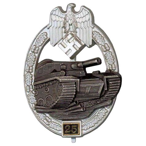 ww2 era german panzer assault uniform badge 25 engagements german ww2 panzer assault badge 25 engagements