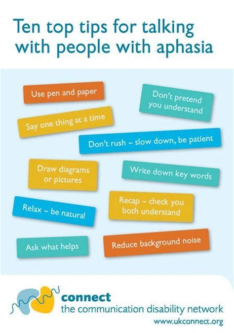 10 Tips To The With Someone New by Ten Top Tips For Talking With With Aphasia Pinned