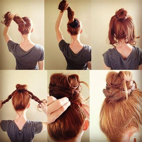 red braids in a bun red hair bun hairstyles how to