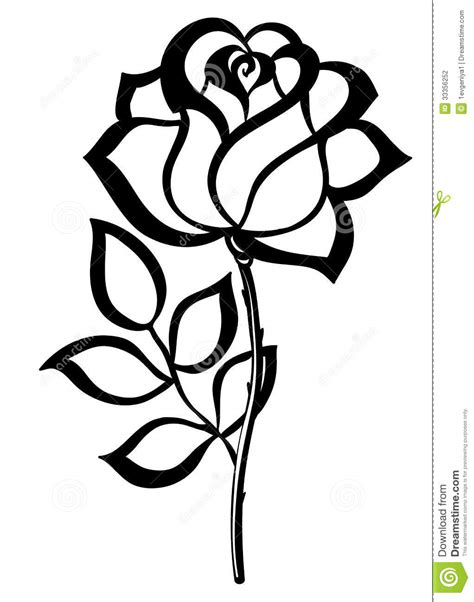 black silhouette outline rose isolated on white stock