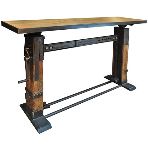 iron and wood console table industrial console table iron and wood 1920 at 1stdibs